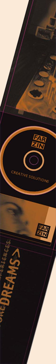 Graphic design of CD-rom, cover, presentation material and booklet for 'Farzin Creative Solutions'. A concept organisation for corporate and fashion events. Presentation cover inside and outside